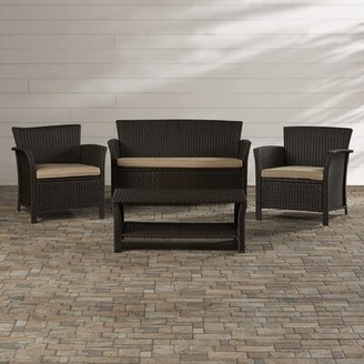 Mercury Row Livingston 4 Piece Rattan Sofa Seating Group with Cushions Frame Color/Cushion Color: Brown Frame/Tan Cushion