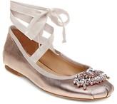 Badgley Mischka Karter Embellished Metallic Leather Ankle Wrap Ballet Flats