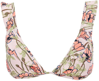 Tory Burch Ruffled Floral-print Triangle Bikini Top