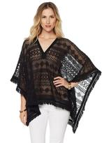 Hale Bob Lace Poncho With Faux Suede and Fringe Detail