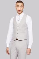 Moss Bros Slim Fit Light Grey Linen Waistcoat
