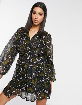 Vero Moda chiffon skater dress in dark floral