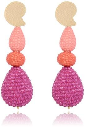 Eye Candy Los Angeles Suzy Crystal Shell Drop Earrings