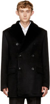Brioni Black Fur-Lined Double-Breasted Coat