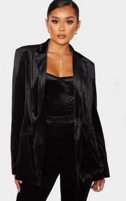PrettyLittleThing Black Longline Velvet Blazer