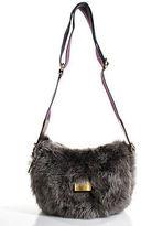 Marc by Marc Jacobs Gray Dyed Lamb Fur Crossbody Shoulder Handbag