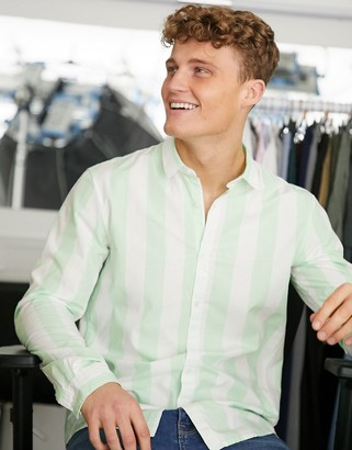 Tom Tailor striped yarn dyed shirt in white and green