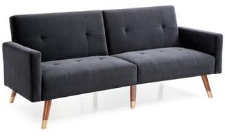 "Mercury Row Jarrod Velvet 79"" Square Arms Sleeper Upholstery Color: Black"