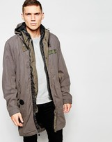 G-star Parka Jacket Submarine Detatchable Hood And Quilted Gilet In Carbid