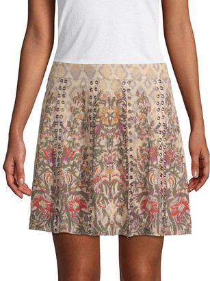 Haute Hippie Grommet Floral Skirt