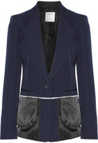 DKNY Satin-trimmed Wool-twill Blazer - Midnight blue