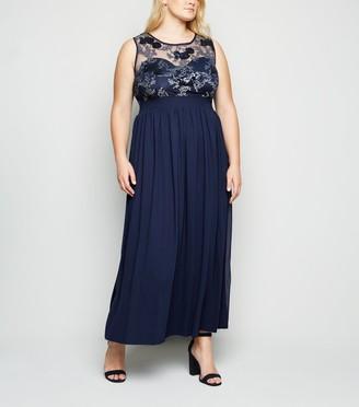 New Look Mela Curves Sequin Chiffon Maxi Dress