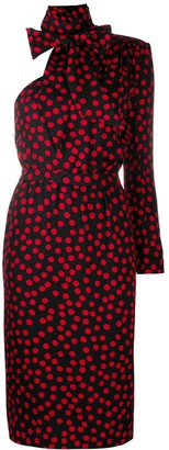 Saint Laurent One-Sleeve Polka Dot Dress
