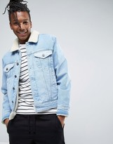 Asos Fully Fleece Lined Denim Jacket with Contrast Panels in Blue Wash