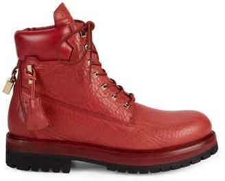 Buscemi Textured Leather Platform Workwear Boots