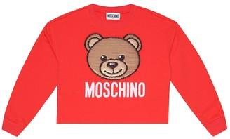 MOSCHINO BAMBINO Sequined stretch-cotton sweater