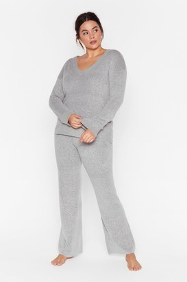 Nasty Gal Womens Hello Weekend Plus Lounge Jumper and trousers Set - Grey - 16, Grey