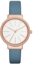 Skagen Rose Goldtone and Blue Leather Analog Watch