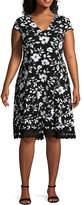 Studio 1 Short Sleeve Floral Fit & Flare Dress - Plus