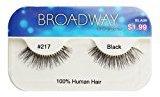 Broadway Eyes False Strip Eyelashes 100% Human Hair Black #217, BLA09 (2 Pack)