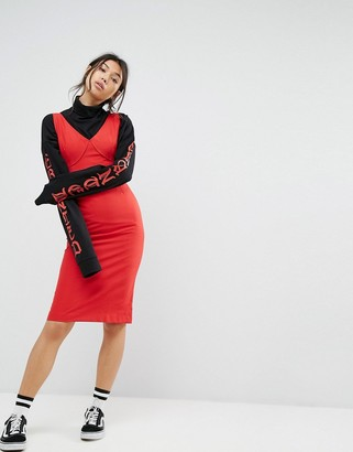 Style Nanda STYLENANDA Midi Layer Pencil Dress-Red
