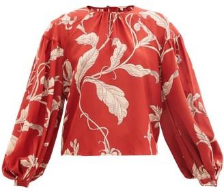 Johanna Ortiz Hecho Por Amor Floral-print Silk-crepe Blouse - Red Multi