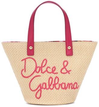 Dolce & Gabbana Embroidered raffia tote