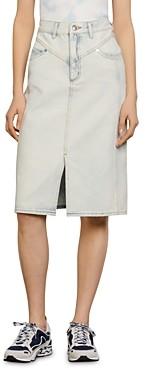 Sandro Abbie Light-Washed Denim Skirt