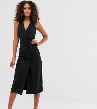 Asos Tall DESIGN Tall sleeveless tux midi dress-Black