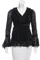 Anna Sui Lace Sequin-Trimmed Top w/ Tags