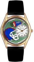 Whimsical Watches Kids' C0820009 Classic Gold Football Black Leather And Goldtone Watch