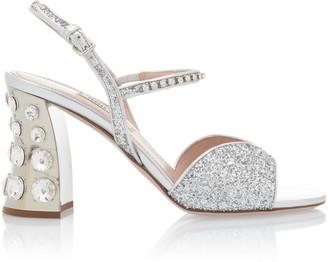 Miu Miu Women's Embellished Glitter Block-Heel Sandals - Silver - Moda Operandi
