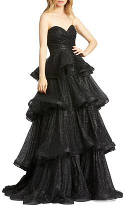 Mac Duggal Sparkle Ruffle Tiered Strapless Ball Gown