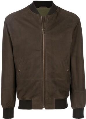 Mr & Mrs Italy Branded Leather Bomber Jacket