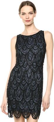 Pisarro Nights Women's Short Sleeveless Dress Featuring LACE and Beaded Motif
