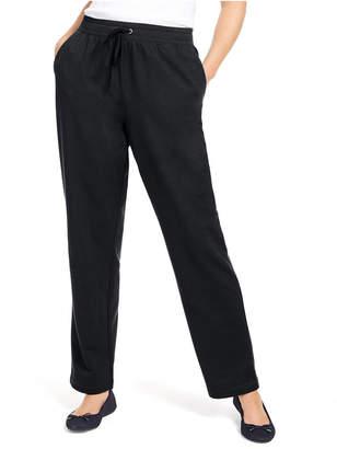 Karen Scott Sport French Terry Ribbon Trim Pants