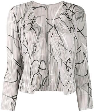 Pleats Please Issey Miyake Pleated Abstract Print Cardigan
