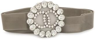 Chanel Pre Owned 1990 CC logos rhinestone buckle belt