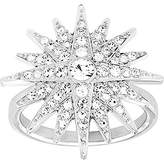 Swarovski Balthus 5095315 Rhodium Plated Clear Crystals Star Ring