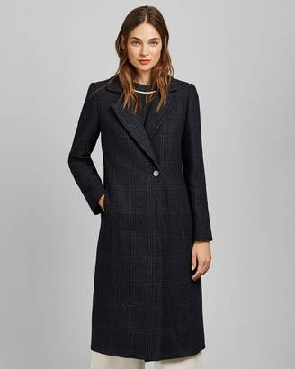 Ted Baker Checked Wool Long Coat