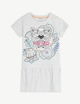 Kenzo Tiger graphic logo cotton-blend T-shirt dress 4-14 years