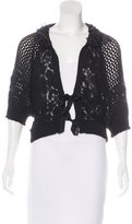 Nina Ricci Short Sleeve Open Knit Cardigan