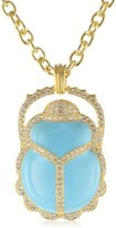 "Kenneth Jay Lane CZ by Triple Chain with Enamel Scarab Pendant Necklaces, 16"", 2 CTTW"