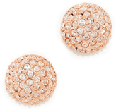 Oscar de la Renta Pave Crystal Dome Button Clip On Earrings