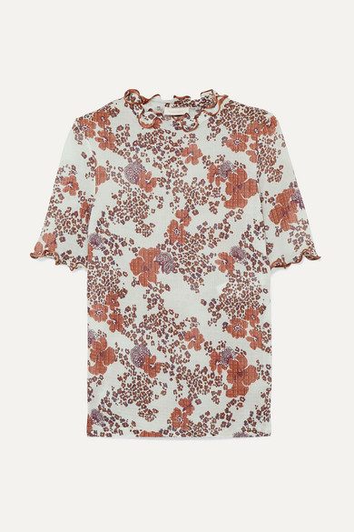 See by Chloe Ruffled Floral-print Stretch-gauze Top - White