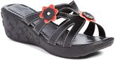 Pandora Black Wendy Floral-Accent Wedge Sandal