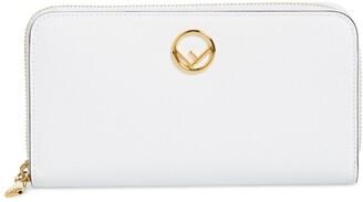 Fendi F is Logo Zip Around Leather Wallet