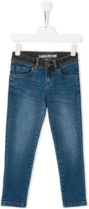 Zadig & Voltaire Kids Contrast Straight-Leg Denim Trousers