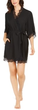 INC International Concepts Inc Lace Trim Short Robe, Created for Macy's