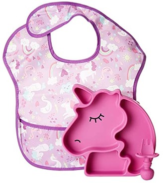 Bumkins Unicorn Silicone Suction Plate and Utensils Set (Purple) Accessories Travel